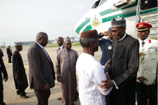 UPDATED: Buhari arrives in Nigeria after 103 days in the UK
